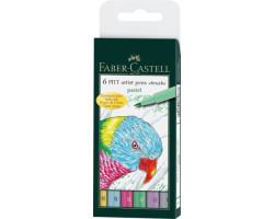 Капиллярная ручка-кисточка Набор PITT Faber-Castell artist pen B 6 цветов Пастель - 167163