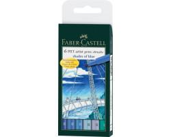 Капиллярная ручка-кисточка Набор PITT Faber-Castell artist pen B 6 цветов Оттенки синего - 167164