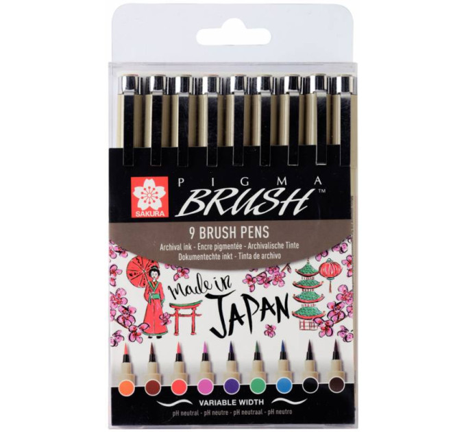 Набор лайнеров-кистей PIGMA Brush, 9 шт, Sakura