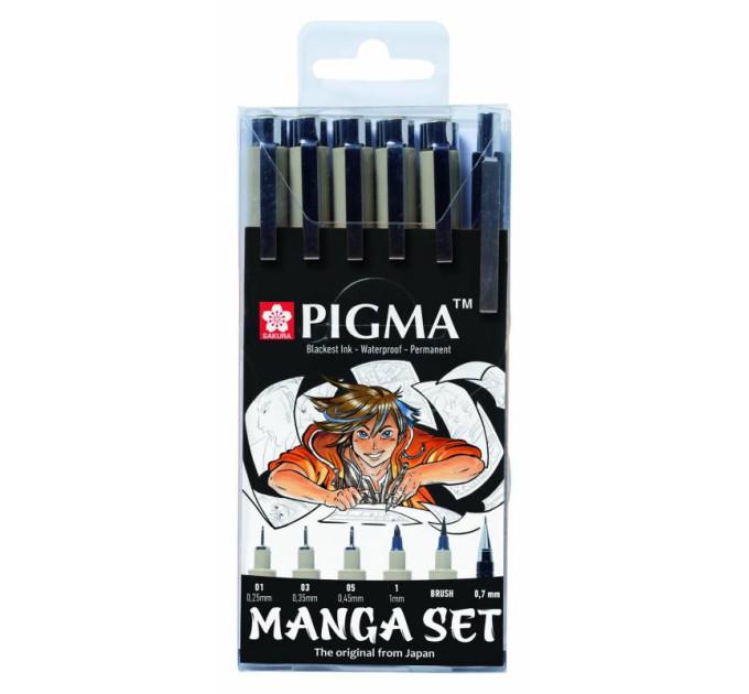 Набор лайнеров для манга MANGA PIGMA TOOL SET, 6 шт, Sakura