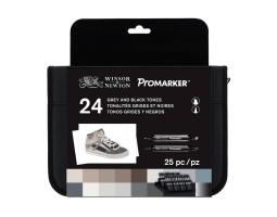 Набор двухсторонних маркеров Promarker Black and Greys 24 шт в пенале W&N