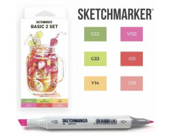 Маркеры для скетчинга SketchMarker набор 6 шт Basic 2 Базовые цвета 2, SM-6BAS2