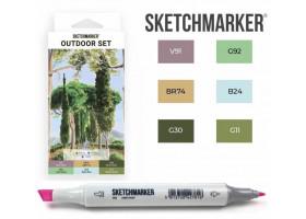 Маркеры для скетчинга SketchMarker набор 6 шт, Outdoor, Пленэр SM-6OUTD