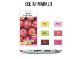 Маркеры для скетчинга SketchMarker набор 6 шт, Basic 1 Базовые цвета 1, SM-6BAS1