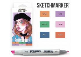 Маркеры для скетчинга SketchMarker набор 6 шт, Rich, Насыщенный SM-6RICH