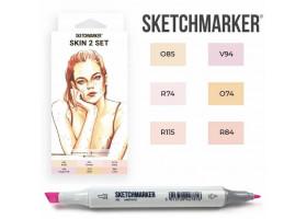 Маркеры для скетчинга SketchMarker набор 6 шт, Skin 2, Телесные SM-6SKIN2
