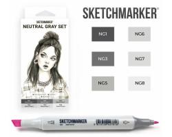 Маркеры для скетчинга SketchMarker набор 6 шт, Neutral Gray, Натуральные серые SM-6NTGR