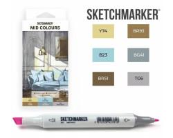 Маркеры для скетчинга SketchMarker набор 6 шт, Mid colours, Средние тона SM-6MID