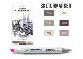Маркеры для скетчинга SketchMarker набор 6 шт, Warm Gray, Мокрый серый SM-6WMGR