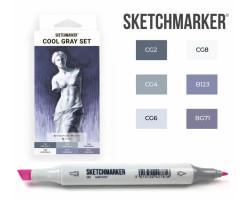 Маркеры для скетчинга SketchMarker набор 6 шт, Cool Gray, Оттенки Серого SM-6CGR