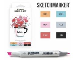 Маркеры для скетчинга SketchMarker набор 6 шт, Basic 3 Базовые цвета 3, SM-6BAS3