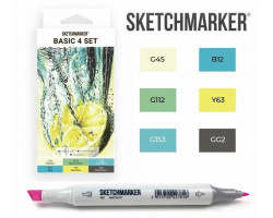 Маркеры для скетчинга SketchMarker набор 6 шт, Basic 4 Базовые цвета 4, SM-6BAS4