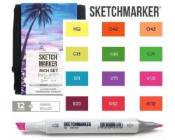 Маркеры для скетчинга SketchMarker набор 12 шт Rich, Насыщенный, SM-12RICH