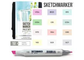 Маркеры для скетчинга SketchMarker набор 12 шт Pale, Бледные тона, SM-12PALE