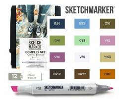 Маркеры для скетчинга SketchMarker набор 12 шт Complex, Комплекс, SM-12COMPX