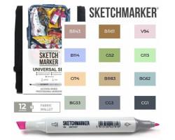 Маркеры для скетчинга SketchMarker набор 12 шт Universal, Универсальный, SM-12UNI