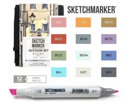 Маркеры для скетчинга SketchMarker набор 12 шт Outdoor, Пленэр, SM-12OUTD