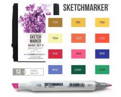 Маркеры для скетчинга SketchMarker набор 12 шт Basic 5 Базовые цвета 5, SM-12BAS5