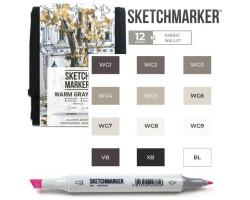 Маркеры для скетчинга SketchMarker набор 12 шт Warm Grey, Мокрый серый, SM-12WMGR