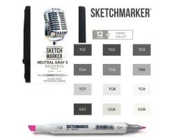 Маркеры для скетчинга SketchMarker набор 12 шт Neutral Grey, Натуральные серые, SM-12NTGR