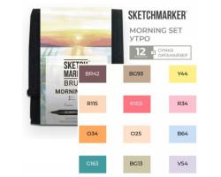 Набор маркеров SketchMarker Brush Утро 12 шт, SMB-12MORN