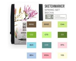 Набор маркеров SketchMarker Brush Весна 12 шт, SMB-12SPRNG