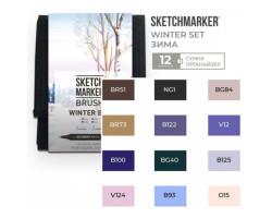 Набор маркеров SketchMarker Brush Зима 12 шт, SMB-12WINT