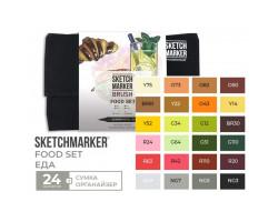 Набор маркеров SketchMarker Brush Еда 24 шт, SMB-24FOOD