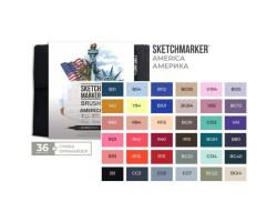 Набор маркеров SketchMarker Brush Америка 36 шт, SMB-36AMER