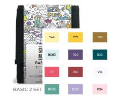Набор маркеров Sketchmarker Basic 2 set 12 - Базовые оттенки сет 2- 12 маркеров + сумка органайзер