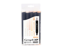 Маркеры Graphit в наборах, Оттенки телесного, 5 шт - GI00082