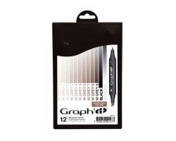Маркеры Graphit в наборах, Оттенки теплого серого, 12 шт - GI00127