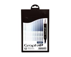 Маркеры Graphit в наборах, Оттенки холодного серого, 12 шт - GI00128