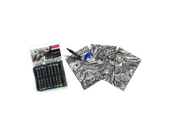 Набор 3 раскраски + 8 шт двусторонних маркеров - GI00150