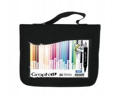 Маркеры Graphit в наборах в пенале, Основные цвета полупрозрачные, 24 шт - GI00241