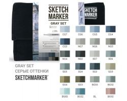 Набор маркеров Sketchmarker Gray set 24 - Серые тона - 24 маркера + сумка органайзер