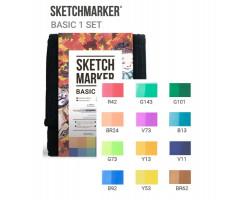 Набор маркеров Sketchmarker Basic 1 set 12 - Базовые оттенки сет 1 - 12 маркеров + сумка органайзер