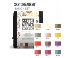 Набор маркеров Sketchmarker Basic 4 set 12 - Базовые оттенки сет 4 - 12 маркеров + сумка органайзер