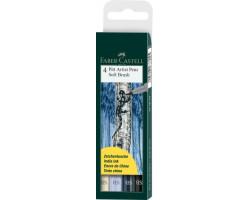Лайнеры Капиллярная ручка-кисть Faber Castell PITT artist pen SB 4 цвета, 167804