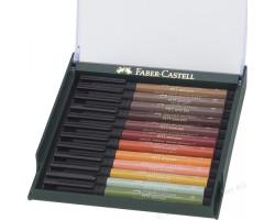Лайнеры капиллярная ручка-кисть Faber Castell в Наборе BRUSH 12 шт. ЗЕМЛЯ 267422