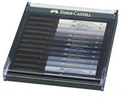 Лайнеры капиллярная ручка-кисть Faber Castell в Наборе12 шт.СЕРЫЕ ОТТЕНКИ 267423